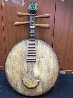 民国尾酸枝箝牛骨传统月琴