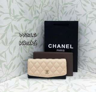 Chanel Flap Wallet Khaki