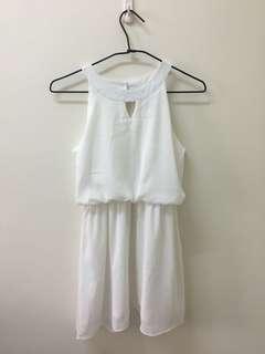🚚 Air space雪紡削肩白色洋裝