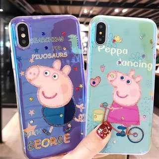 ^手機殼IPhone6/7/8/plus/X : 情侶款Peppapig水鑽貼藍光全包邊軟殼