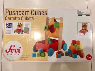 Wooden Pushcart Cubes