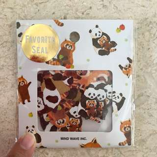 Raccoons & Panda stickers, 70pcs