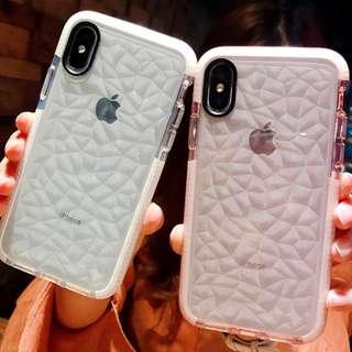^手機殼IPhone6/7/8/plus/X : 簡約防摔鑽石紋全包邊透明軟殼