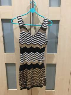 Bebe Tribal Sequin Dress