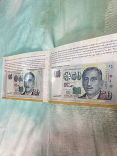 Singapore commemorative issue $50 identical number Bank note