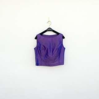 🚚 二手 紫色 反光變色藍 短版 背心 明太子 626