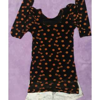 Ribbon Polka dots long sleeve