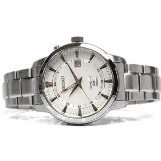 Seiko SUN029P1 Men Kinetic GMT White Jam Tangan Pria SUN029