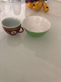Old bowl n small cup