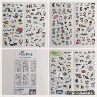 Cat & Girl Sticker Set