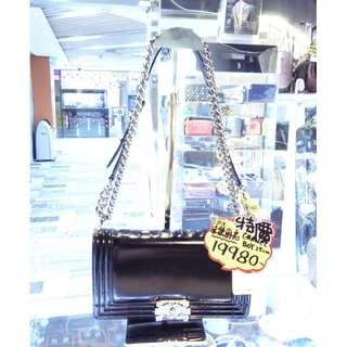Chanel CC Logo Black Leather BOY Chain Shoulder Crossbody Handbag Hand Bag PHW 香奈兒 黑色 牛皮 皮革 真皮 限量版 銀扣 銀鍊 鍊袋 斜揹袋 斜背袋 肩袋 手袋 袋