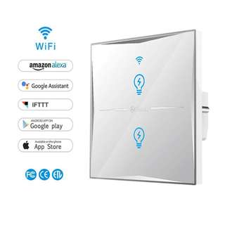 Smart Light Switch,WIFI Light Switches Wall Tempered Glass Touch-Screen,Works With Alexa and Google Home,Control Your Fixtures From Anywhere,Timing Function,Overload Protection,No Hub Required (2 Gang) --835