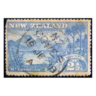 1898年英屬英屬紐西蘭厄恩斯勞山及圭奇丁普湖風景2.5便士郵票(英女皇維多利亞時期)