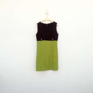 二手 咖綠 腰環 洋裝 明太子 626