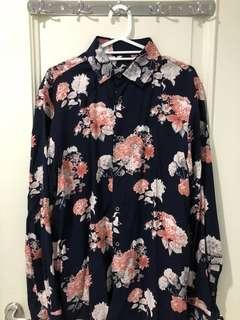 ZARA Navy Floral Pink Shirt