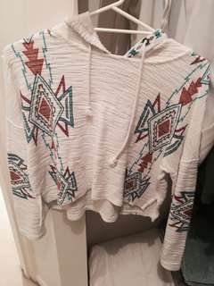 CROPPED TRIBAL HIPPIE STYLE HOODIE