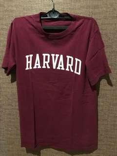 Harvard univ T shirt baju kaos warna merah maroon