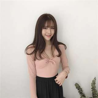 🚚 Sleeved V Neck Ribbon Tie Top