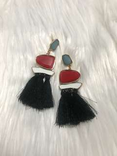 Gem and Tassel Fashion Earrings