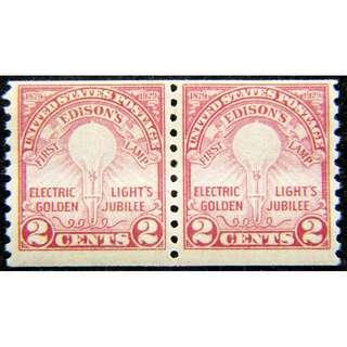 1929年美國慶祝愛迪生發明電燈炮50週年紀念雙連票(未使用)