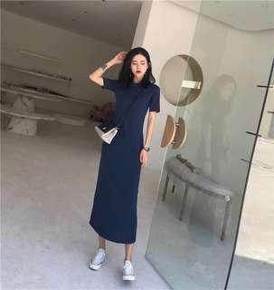 🚚 Navy Blue Maxi Dress Sleeves