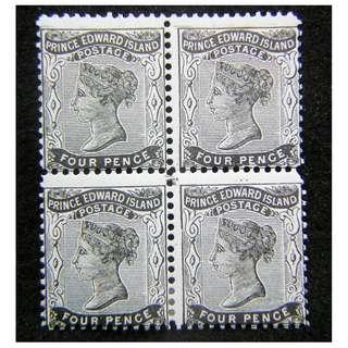 1868年英屬愛德華皇子島英女皇維多利亞像4便士四方連郵票(未使用, 少見)