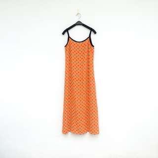 🚚 二手 橘色 印花 洋裝 明太子 626
