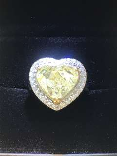 6.01cts Fancy Yellow Heart ❤️ Shape 18k Diamond Ring