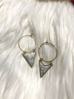 Gold Hoop and Marble Dangling Earrings
