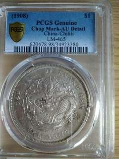 China Chihli Silver Dollar Coin Yr 1908