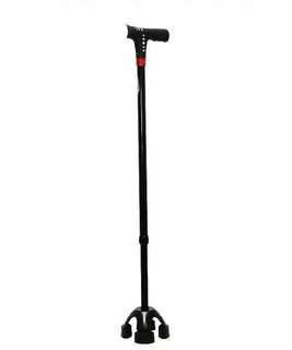 🚚 Smart Small Quad Walking Stick With Auto Fall Alarm, MP3 And FM Radio
