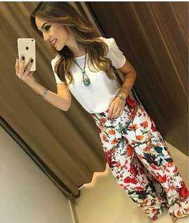 White top White Floral Pants terno