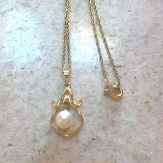 14K/585黃金珍珠(活動)吊墜,連9k頸鍊
