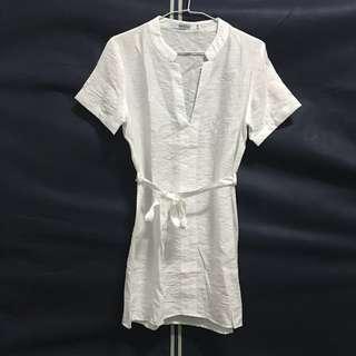 🚚 白色長版綁帶上衣