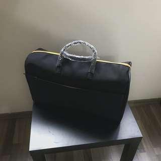 🚚 Large Black & Orange Nylon Handbag
