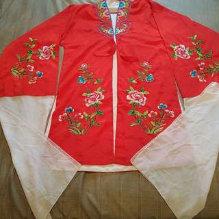 Chinese Opera performing costume dress top with white water sleeves Full embroidery