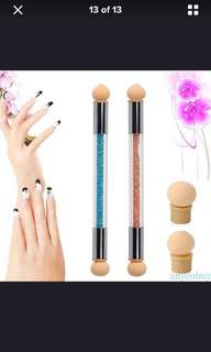 Dual head sponge brush for nail art