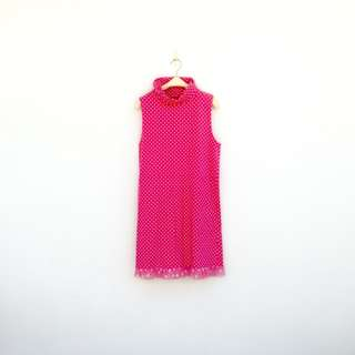 二手 粉紅 甜甜點點 蕾絲 棉質 彈性 洋裝 明太子 626
