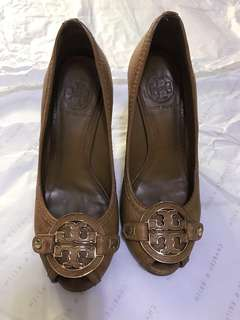 Tory Burch Brown Amanda Wedges