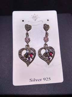 Crystal and Ruby Sterling Silver 925 Heart Earrings 紅寶石水晶純銀耳環