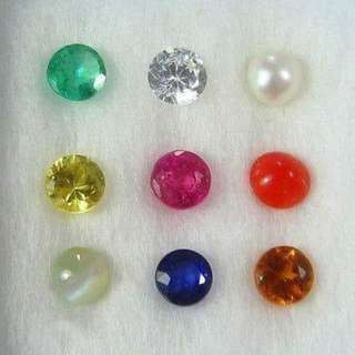 9 Planet gemstones navratna stones per box all natural except white c zircon. $10 one stone.