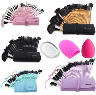 32 cosmetic Make Up Brush set with egg,puff and silisponge
