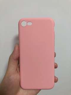 Iphone8粉色超薄全包液態硅膠手機殼