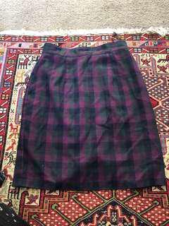 Vintage high waisted check skirt