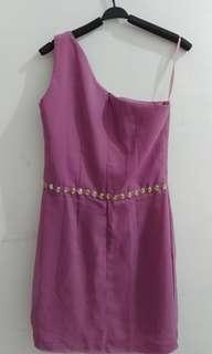 Dress pesta ungu pink