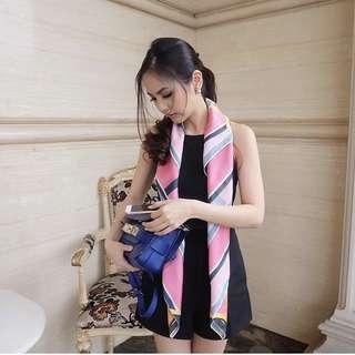 Silk satin pink scarf