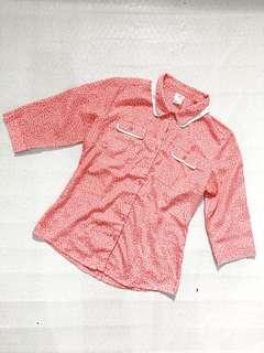 Printed Collar Longsleeves Blouse