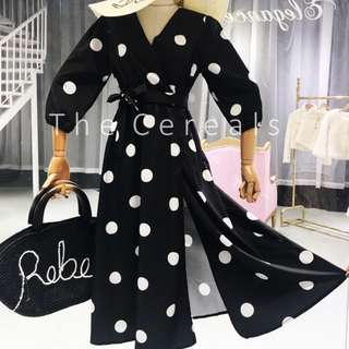 TC2493 Korea Polka Dot Dress/Outer