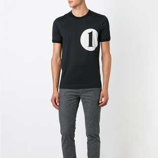 "【不議價】Dolce & Gabbana ""1"" logo print grey cotton t-shirt tee"