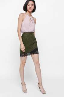 Faux Suede Lace Trim Skirt in Olive